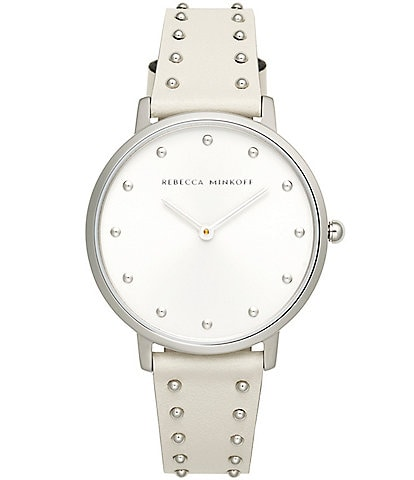REBECCA MINKOFF Major Silver Tone White Stud Strap Watch