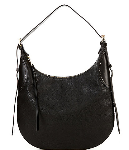 REBECCA MINKOFF Pippa Studded Leather Top Zip Hobo Bag