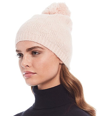 REBECCA MINKOFF Women's Textured Beanie with Pom