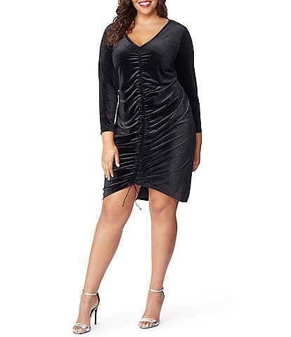 Rebel Wilson X Angels Plus Size Velvet Rouched V-Neck Sheath Dress