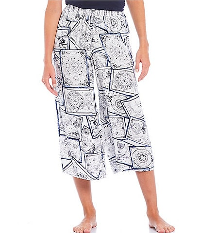 Refinery29 Cameo Astrological Postcard Printed Woven Cropped Palazzo Pants