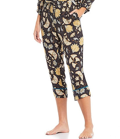 Refinery29 Floral Print Woven Cropped Coordinating Sleep Pants