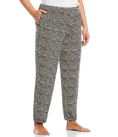 Refinery29 Plus Animal Print French Terry Jogger Lounge Pants