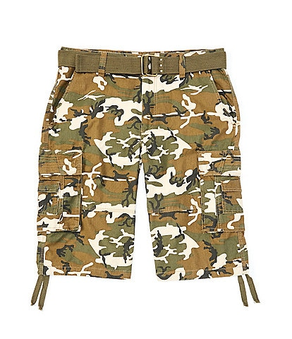 Request Jonah Belted Camo Cargo 13#double; Inseam Shorts