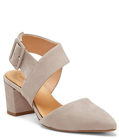 Riina Suede Asymmetrical Block Heel Pumps