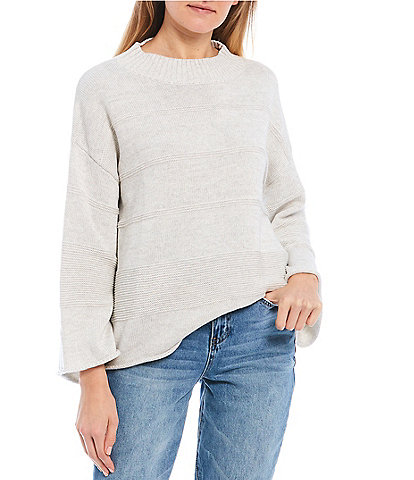 Rip Curl Flared-Sleeve Sun Rays Texture Striped Sweater