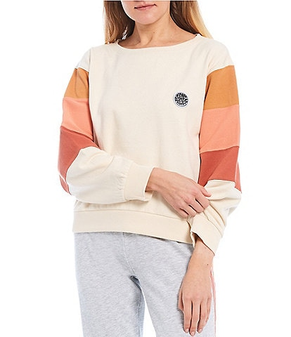 Rip Curl Long-Sleeve Track Team Color-Block Scoop Neck Top