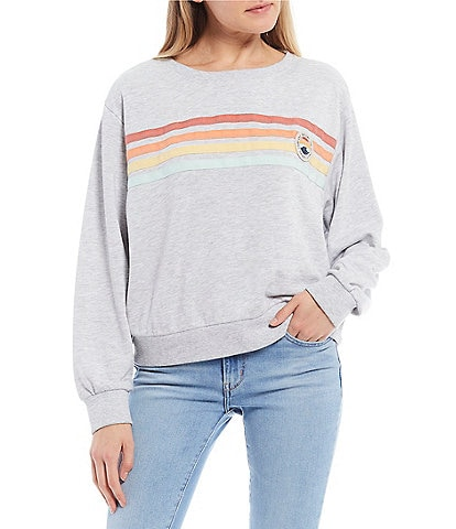 Rip Curl Long-Sleeve Ultimate Wave Stripe Print Scoop Neck Knit Top