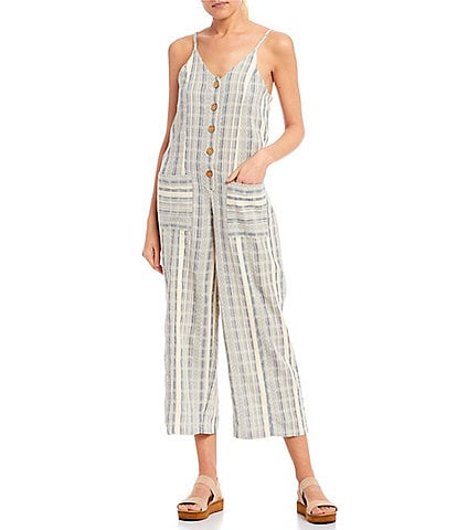 Rip Curl Montauk Stripe Button Front Cropped Jumpsuit