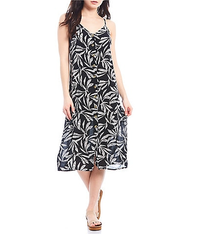 Rip Curl Ooh La Leaf Button Front Midi Dress