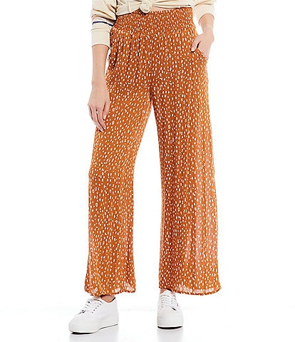 Rip Curl Safari Sun High Rise Smocked Waist Wide Leg Pants