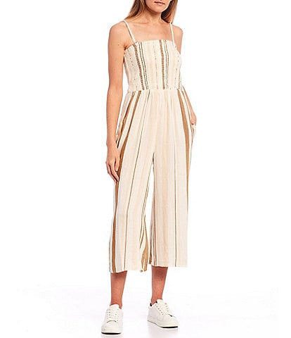 Rip Curl Sol Stripe Smocked Strapless Cropped Jumpsuit