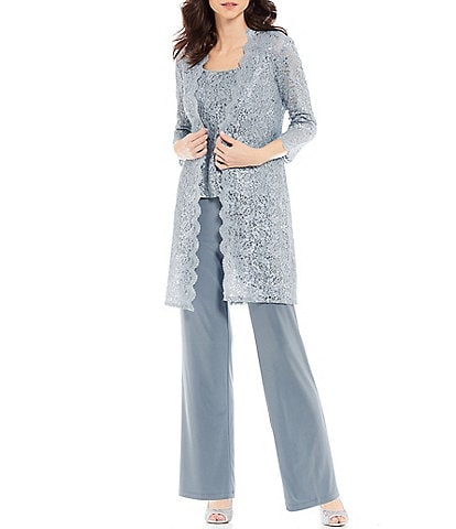 DIKN Womens Elegant Sequin Tulle Mother of Bride Dress Pant Suit 3 Pieces Long Sleeves Outfit