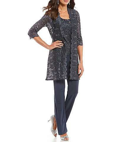 R&M Richards 3-Piece Sequin Glitter Scallop Lace Duster Pant Set