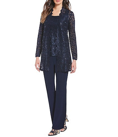 R & M Richards 3-Piece Sequin Glitter Scallop Lace Duster Pant Set