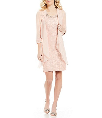 R&M Richards Beaded-Neck Glitter Lace 2-Piece Jacket Dress