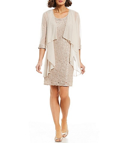 R & M Richards Beaded-Neck Glitter Lace 2-Piece Jacket Dress