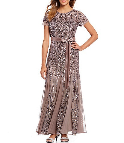 R&M Richards Embroidered Sequin Panel Gown