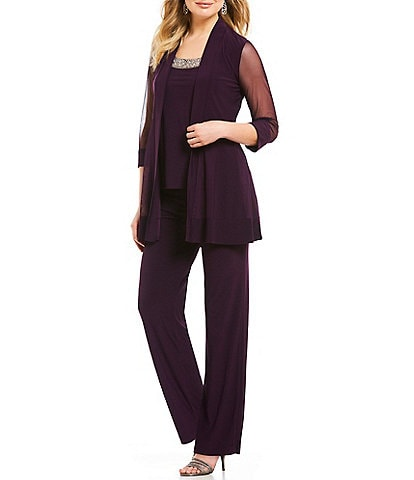 R&M Richards Mock 3-Piece Beaded-Neck Pant Set
