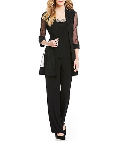 R & M Richards Petite Size Beaded Detail Top & Sheer Knit Jacket 2-Piece Pull-On Pant Set