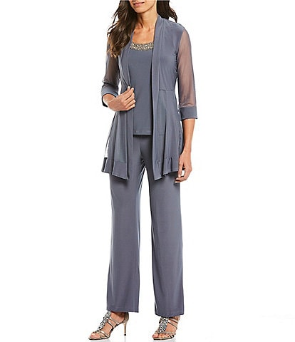 R&M Richards Petite Beaded Detail Top & Sheer Knit Jacket 2-Piece Pull-On Pant Set