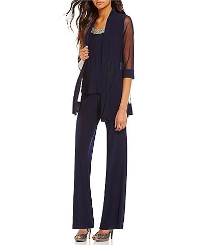 R&M Richards Petite Mock 3-Piece Beaded-Neck Pant Set