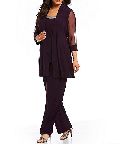 R & M Richards Plus Size Scoop Neck 3/4 Sleeve Beaded Detail Top & Sheer Knit Jacket 2-Piece Pull-On Pant Set