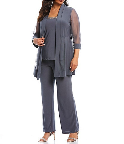 R & M Richards Plus Mock 3-Piece Beaded-Neck Pant Set
