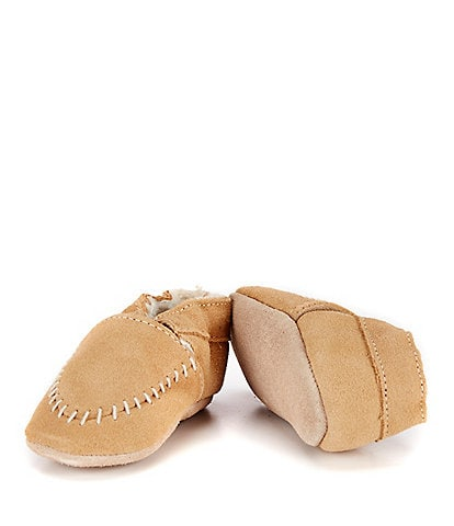 Robeez Baby Boys' Cozy Soft Sole Suede Leather Moccasin Crib Shoes