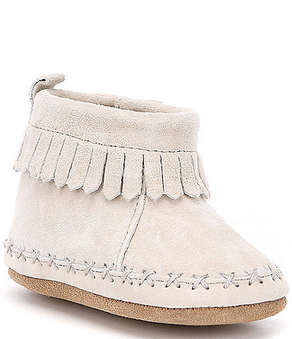 Robeez Suede Fringe Newborn-24 Months Soft Sole Ankle Moccasin Crib Shoes (Infant)