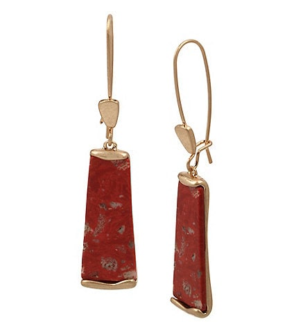 Robert Lee Morris Soho Geometric Jasper Stone Long Drop Earrings