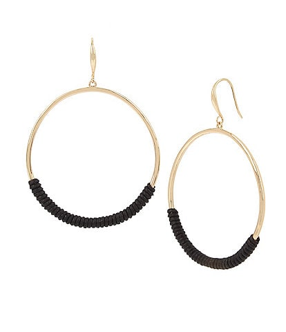 Robert Lee Morris Soho Leather Wrapped Gypsy Hoop Earrings