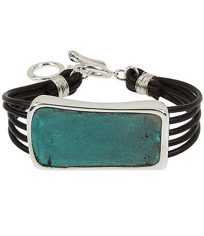 Robert Lee Morris Soho Patina Geometric Multi Row Leather Bracelet