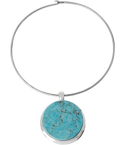 Robert Lee Morris Soho Round Turquoise Pendant Wire Choker Necklace