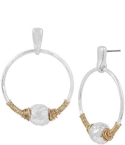 Robert Lee Morris Soho Sculptural Bead Wire-Wrapped Hoop Drop Earrings