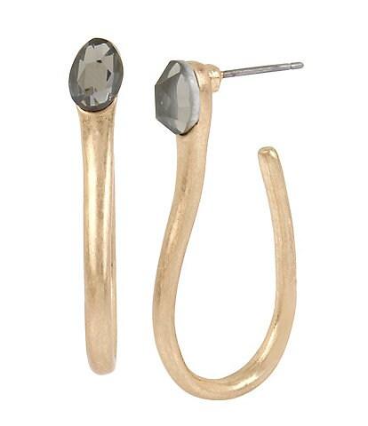 Robert Lee Morris Soho Stone Sculptural Curved Hoop Earrings