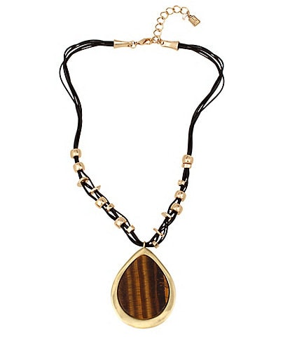 Robert Lee Morris Soho Tiger's Eye Pendant Leather Necklace