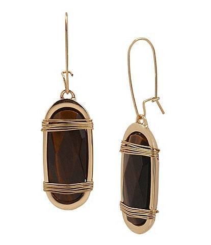 Robert Lee Morris Soho Tiger's Eye Wrapped Long Drop Earrings