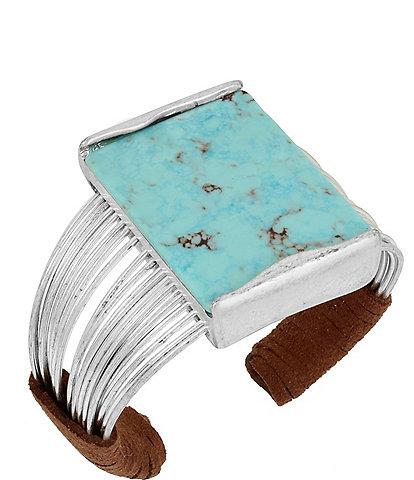 Robert Lee Morris Soho Turquoise & Suede Multi-Row Cuff Bracelet