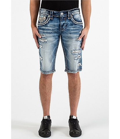 Rock Revival Verdugo H210 23#double; Outseam Distressed Straight-Fit Shorts