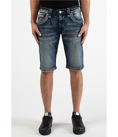 Rock Revival Wood Ash H200 23#double; Outseam Straight-Fit Shorts