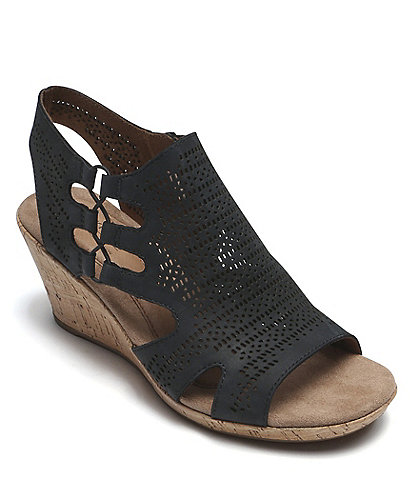 Rockport Janna Perforated Leather Cork Wedge Sandals