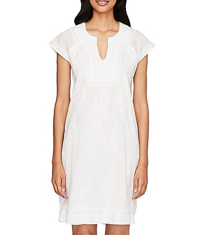 Roller Rabbit Embroidered Cotton Moss Shift Dress