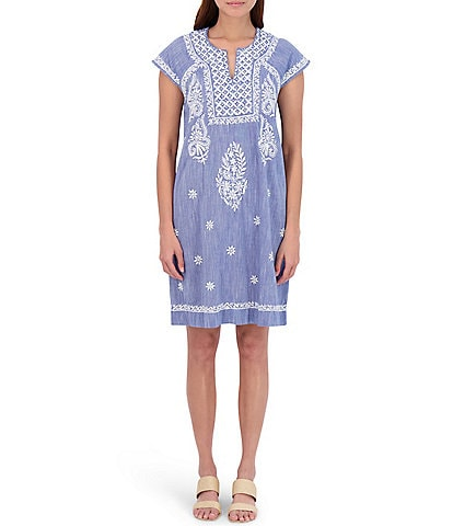 Roller Rabbit Faith Chambray Embroidered Shift Dress