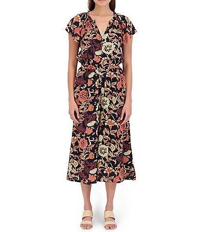 Roller Rabbit Floral Print Cap Sleeve V-Neck Taos Joni Jumpsuit