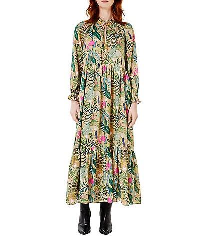 Roller Rabbit Franca Print Mock Keyhole Neck Long Sleeve Silk Satin Button Garnet Dress