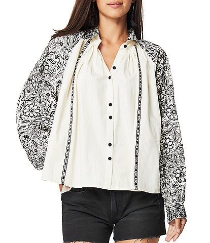 Roller Rabbit Adrianna Lodhi Embroidered Print Notch Collar Neck Long Sleeve Top
