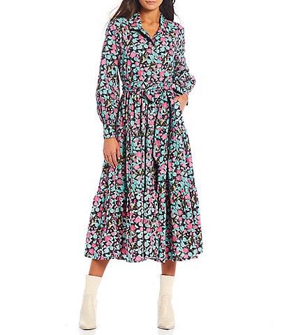 Roller Rabbit Manusa Sonora Floral Print Notch Collar Long Sleeve Midi Dress