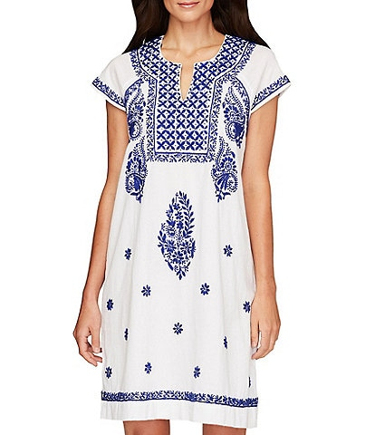 Roller Rabbit Notch Front Faith Embroidered Matching Dress