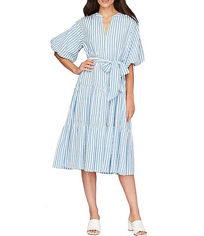 Roller Rabbit Short Sleeve Tie Front Lur Valonia Striped Matching Dress